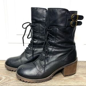 Lucky Brand Black Leather Moto Buckle Boots
